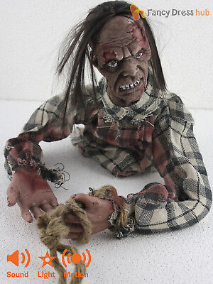 Animated Crawling Zombie Floor Prop Light Up Sound Halloween Party Decoration