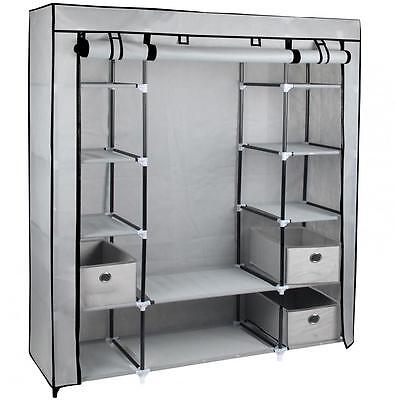 Large Grey Fabric Canvas Wardrobe With Hanging Rail Shelving Clothes Storage