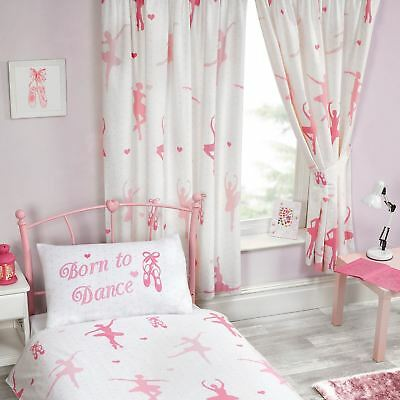 """BORN TO DANCE BALLERINA FULLY LINED CURTAINS DANCER KIDS BEDROOM 66"""" x 72"""""""