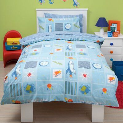 Kids Blast Off Space Ship Theme Single Duvet Cover and Pillowcase Set