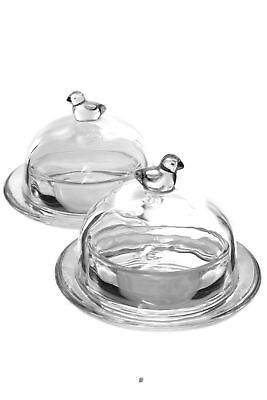 Set 2 Glass Round Individual Serving Domed Covered Butter Dish with Finial Top American Chateau