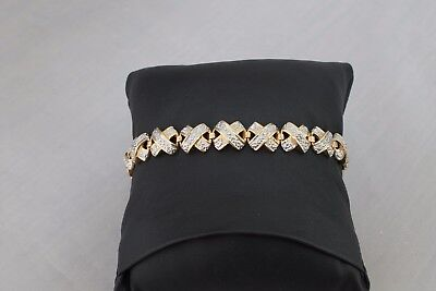 Sterling Silver Two Tone Bracelet 7 Inch Length Free Shipping USA No Reserve