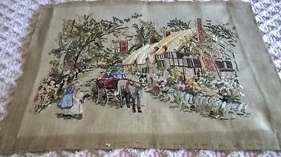 Fabulous  Vintage Hand Embroidery, Cottage,  Village  Scene, Full Of Detail