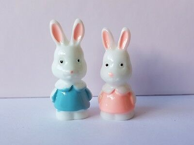 2x Miniature Rabbit Bunny toys figures 1:12th scale dolls house nursery toyshop