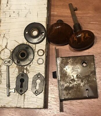 Early Russell & Erwin Mortise Door Lock Set 100% Complete W/Key & Keyhole Plates