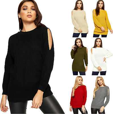 Womens Cut Out Cold Shoulder Cable Knitted Top Ladies Long Sleeve Jumper