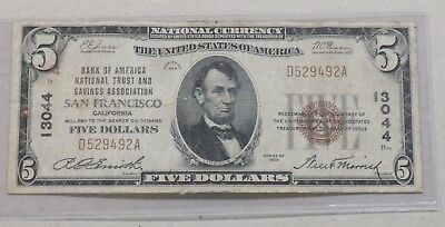 1929 $5 Five Dollar National Currency Banknote San Francisco Ca