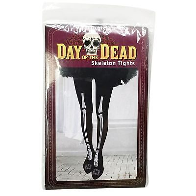 Adult Day Of The Dead Skeleton Tights Halloween Fancy Dress Costume Trick Party