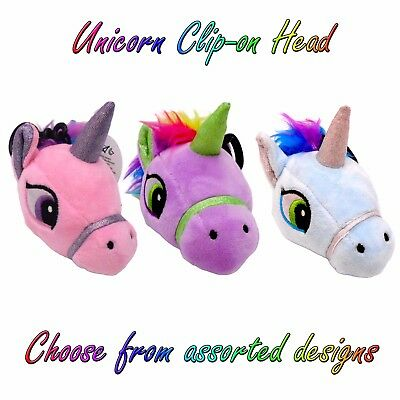 "GIGI QUEEN 5"" Plush CLIP-ON UNICORN HEAD Soft Toy /w Sounds - Assorted Colours"