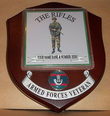 The Rifles Veteran Wall Plaque personalised.
