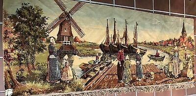 Vintage Wall Tapestry Holland Tulip Fields Wind Mills Dutch Countryside Fringe