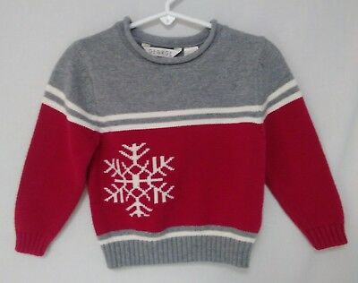 GEORGE Boys 24 Mos 2T Red Snowflake Christmas Holiday Sweater Crew Neck Pullover