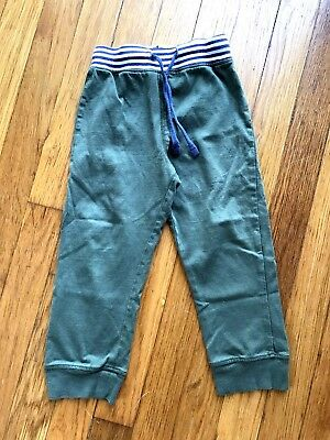 BABY BODEN Boys soft pants olive green navy white stripe 2 3 years
