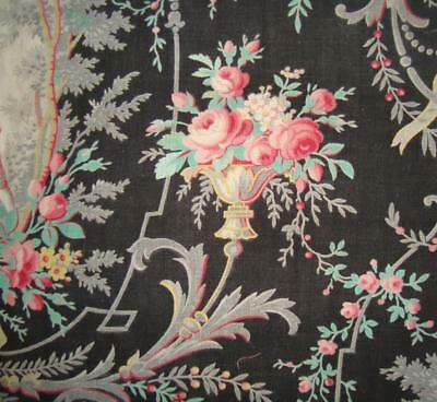 BEAUTIFUL MID 19th CENTURY ROCOCO FRENCH LINEN TOILE, ROSES, PROJECTS REF