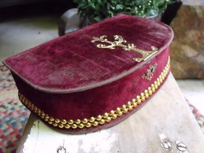 Sweet Shabby Antique Victorian Era Velvet Jewelry Box With 48 Star US Flag Pin