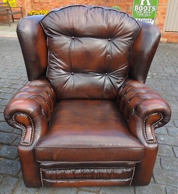 Superb Good Quality Brown Leather Pair Chesterfield Monks Style  Arm Chairs