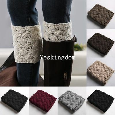 Womens Leg Warmers Boot Toppers Socks Knitted Winter Wellies Slouch Cover New