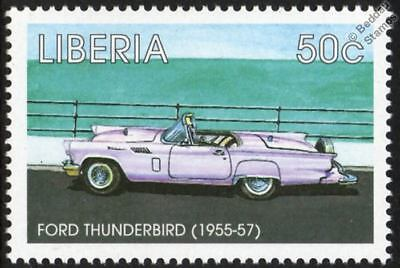 1955-1957 FORD THUNDERBIRD / T-BIRD Mint Automobile Car Stamp (1998 Liberia)