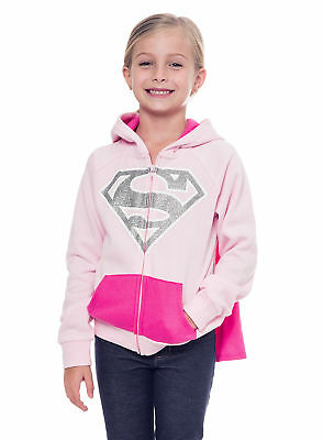 Supergirl Girls Hoodie Jacket with Cape - Pink DC Comics