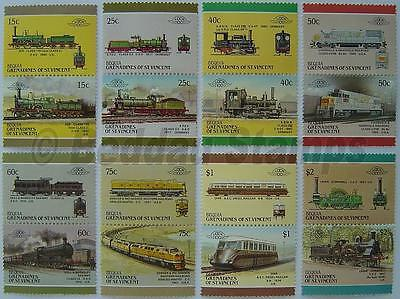 1987 BEQUIA Set #5 Train Locomotive Railway Stamps (Leaders of the World)