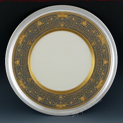 Lenox China Vintage Gold Encrusted Cabinet Plate Watson Sterling Silver Frame
