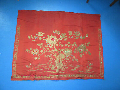 Vintage Embroidery Chinese Couched Metallic Thread Flowers on Red Silk