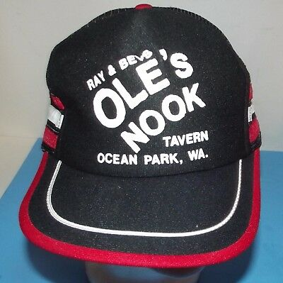Cap Embroidery Ray & Bev's Ole's Nook Travern Ocean Park, Wa. Black & White Hat