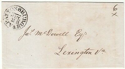 1837 PATTONSBURGH PA STAMPLESS COVER - SIGNED ON BACK BY JAMES McDOWELL GOVERNOR