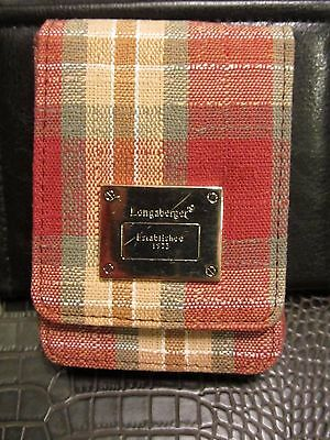 Longaberger BUSINESS or CREDIT CARD CASE ~ ORCHARD PARK PLAID  Fabric New