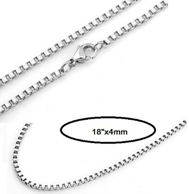 "4mm 316L Mens Womens Stainless Steel Box Necklaces Chain18"" For Pendant Gift ST"
