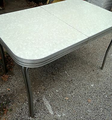 """Vintage Chrome Kitchen Dinette Table Marble Ice Top Retro 50-60""""s Formica"""