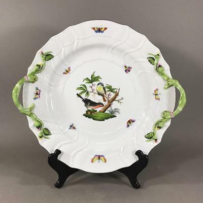 Vintage HEREND Porcelain 'Rothschild Bird' Handled Serving Plate 1173 RO