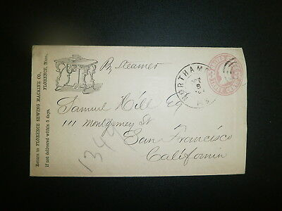 Extreme Advertising Cover:  1867 Florence Sewing Machine Co., Florence, Mass