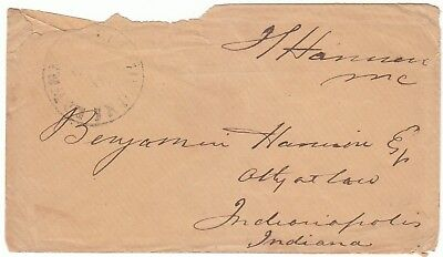 1850s LAWRENCEBURGH IND STAMPLESS COVER  FREE FRANK CONGRESMAN JOHN S. HARRISON