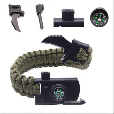 Survival Bracelet Paracord Knife Whistle Magnesium Fire Starter Compass Kits H02