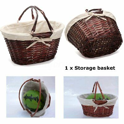 Brown Oval Wicker Hamper Storage Outdoor Picnic Shopping Basket With Handles