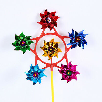 Kids Windmill Party Fun Toys Six Wheel Big Flower Plastic Pinwheels Baby Gifts