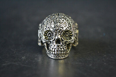 Nice China Collectible Decor Old Tibet Silver Skull Theme Totem Ring