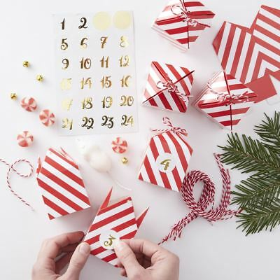 Make Your Own Christmas Advent Box Kit - Red & White and Stickers 24 Boxes