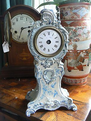 Pretty Rococo 19Th C French Ceramic Handpainted Birds Desk Mantle Clock Case
