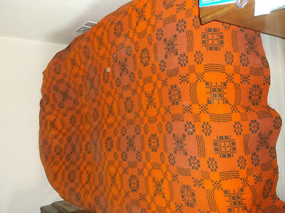 Large brown and orange vintage Welsh blanket 100% wool in very good condition