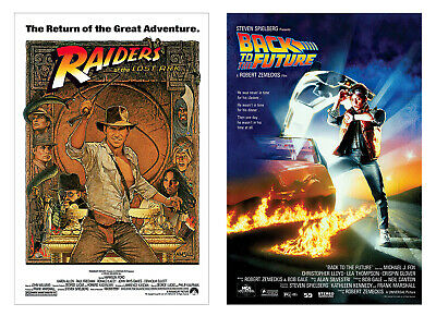 Raiders Of The Lost Ark & Back To The Future - 80's Classic - Movie Poster Set