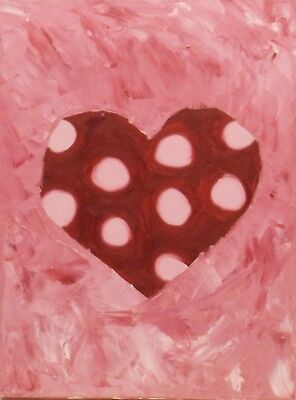 """"""" Pink/Red Heart Composition Abstract """" Oil / Lwd Unsigned"""