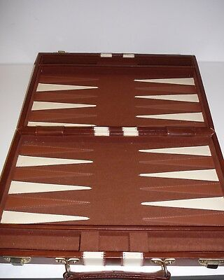 Vintage Backgammon Board Game in Vinyl Carry Case with instructions