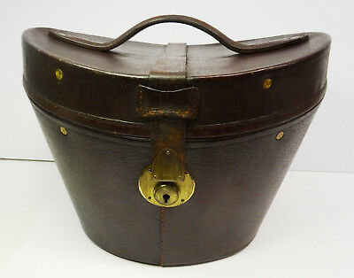 Antiker Hut Koffer Zylinderhutkoffer Top Hat Leather Case Leder Hutkoffer ~1900