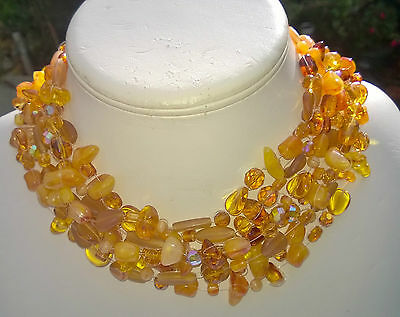 Vintage *FAUX*AMBER*CHOKER-NECKLACE+BRACELET SET*HAND MADE*FRENCH RIVIERA*1980's