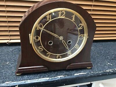 Antique Mantle Clock Working with Key Wooden Case
