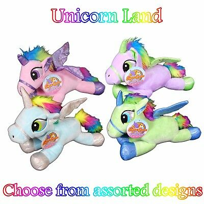 "GIGI QUEEN Adventures In Unicorn Land 12"" LAYING UNICORN Soft Toy - Assorted"