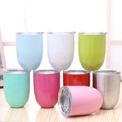 Home Wine Glass Double Wall Insulated Stainless Steel Lid Tumbler Wine Mugs US