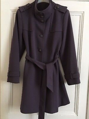 Ladies purple 3/4 trench coat by M&S size 14